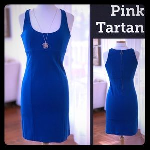 PINK TARTAN body con bright royal blue knit dress